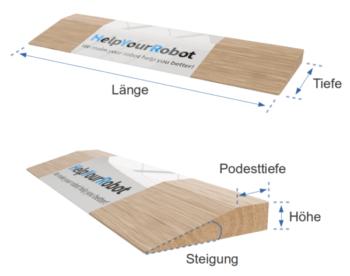 Konfigurationsmaße für maßgefertigte Türschwellenrampen aus massivem Holz