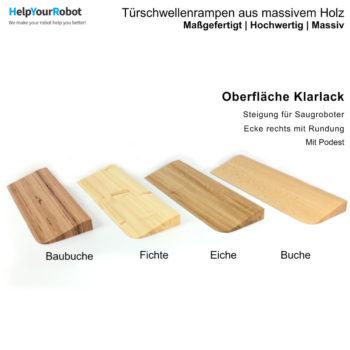 Türschwellenrampen aus Massivholz für Saugroboter - Klarlack